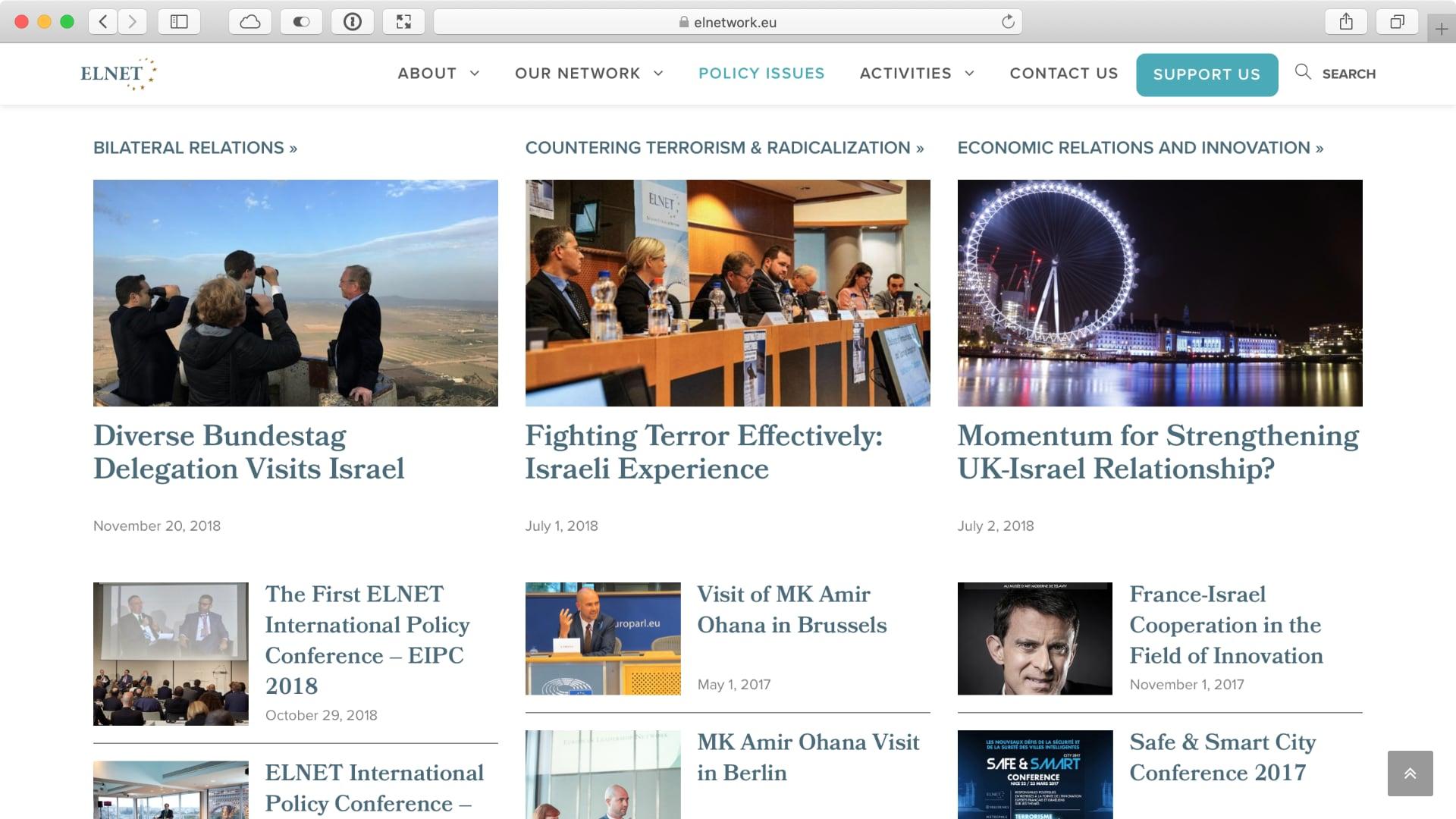 עמוד המאמרים של Elnet אשר מציג רק את הפוסטים האחרונים מכל נושא כדי להקל עומס המידע