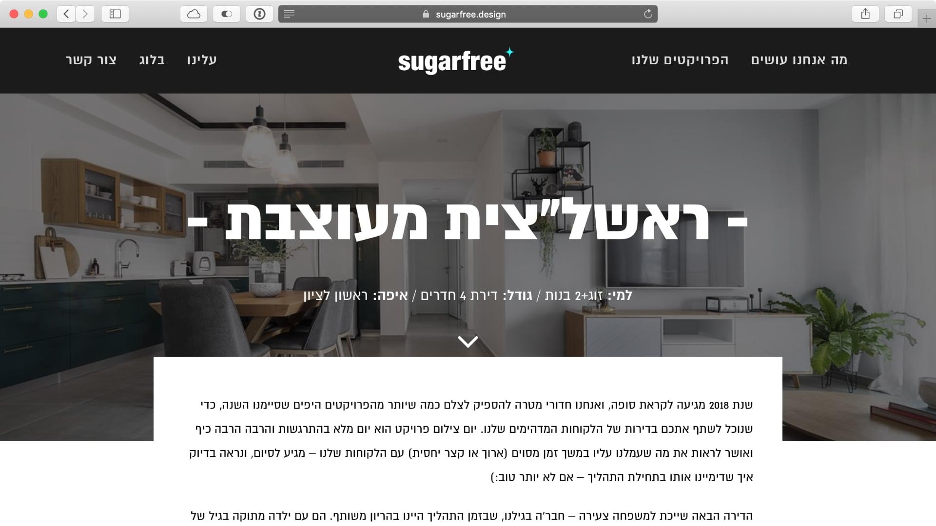 פרויקט: מציג את הפרטים הטכניים מעל הפוסט