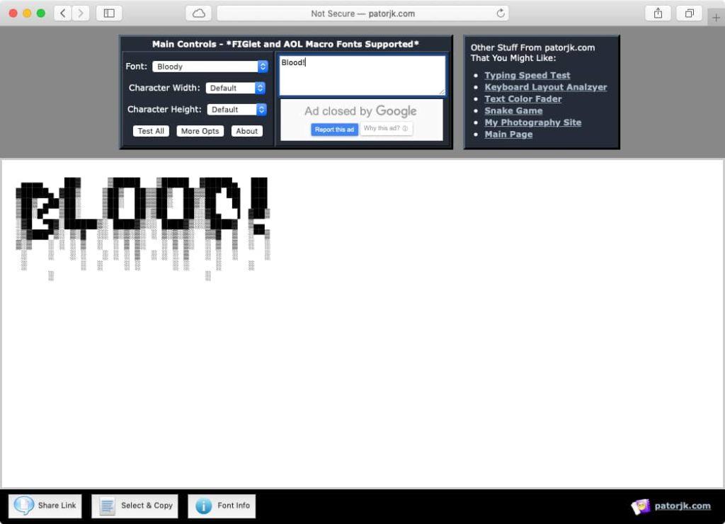 צילום מסך של מחולל ASCII