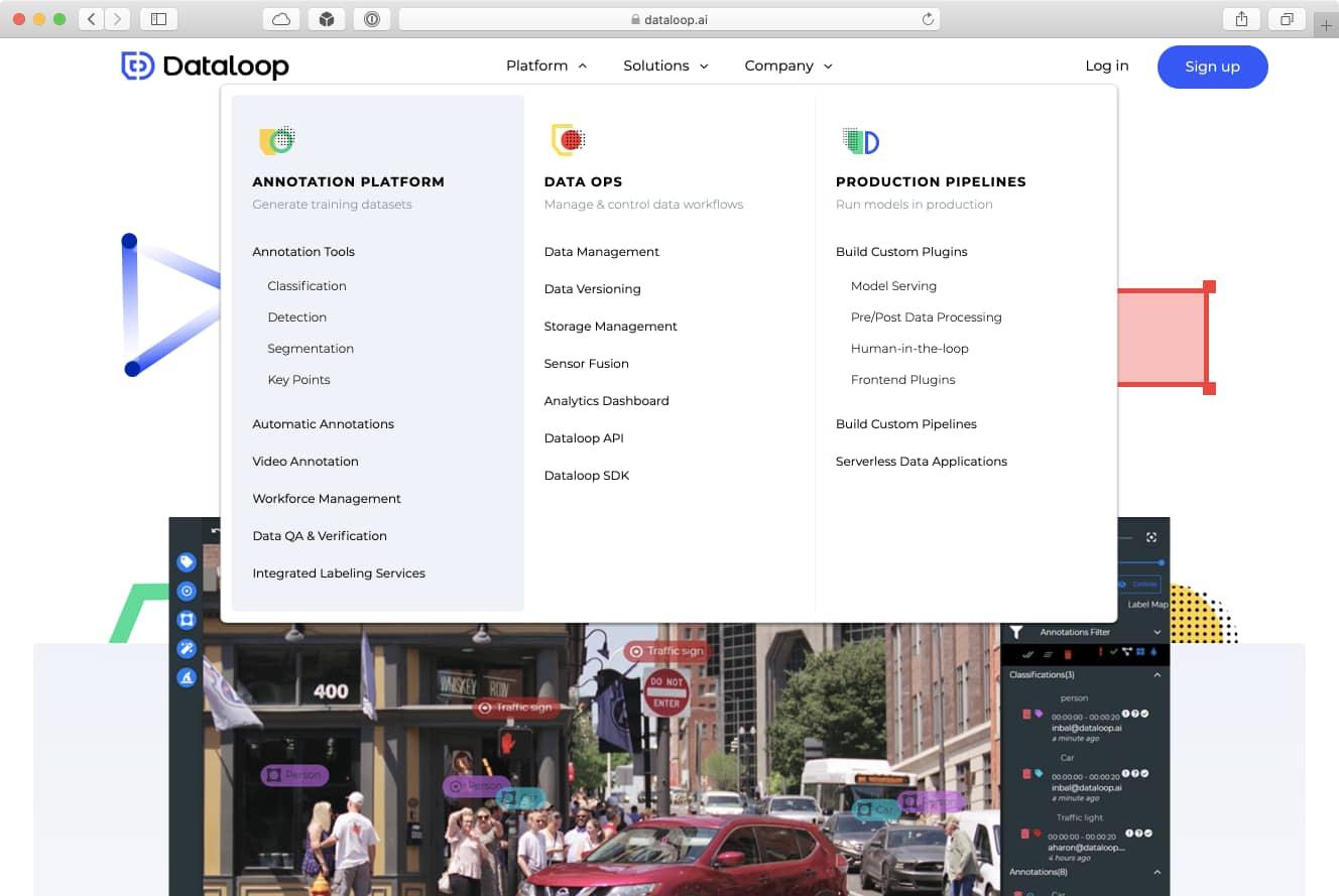 תפריט הניווט של Dataloop