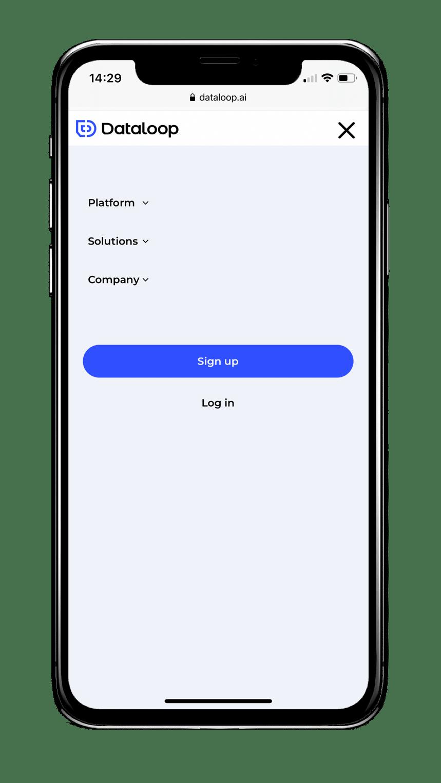 תפריט הניווט של Dataloop במובייל